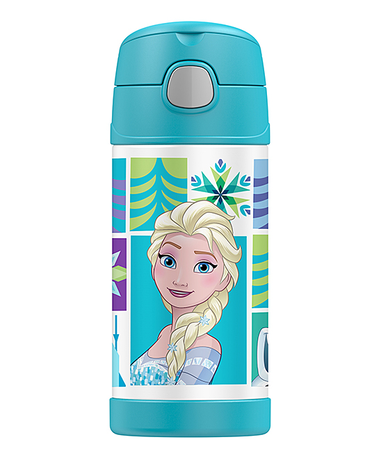 Thermos  Tumblers  - Frozen Elsa Insulated Straw 12-Oz. Thermos Frozen Elsa Insulated Straw 12-Oz. Thermos. This travel-ready thermos features a built-in carry handle and insulation to keep your drinks steamy-hot. A spirited graphic from an adventure-loving pop culture mainstay and flip-into-the lid straw combine personality and convenience. Includes thermos, lid and strawHolds 12 oz.Stainless steel / plasticInsulatedBPA-freeHand washImported