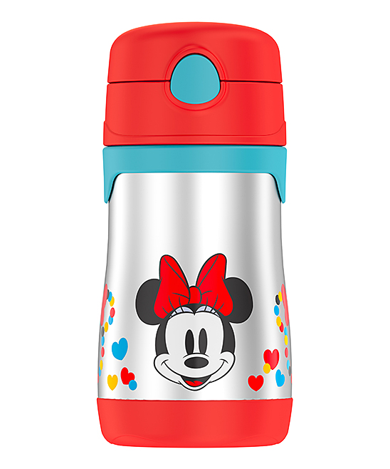 Minnie Mouse Insulated Straw 10-Oz. Thermos Minnie Mouse Insulated Straw 10-Oz. Thermos. This handy thermos combines entertainment-loving panache with travel-ready convenience thanks to heat-trapping stainless steel, a pop-out attached straw in the lid and an adventurous graphic.  Includes thermos, lid and attached strawHolds 10 oz.Stainless steel / plasticDishwasher-safeImported