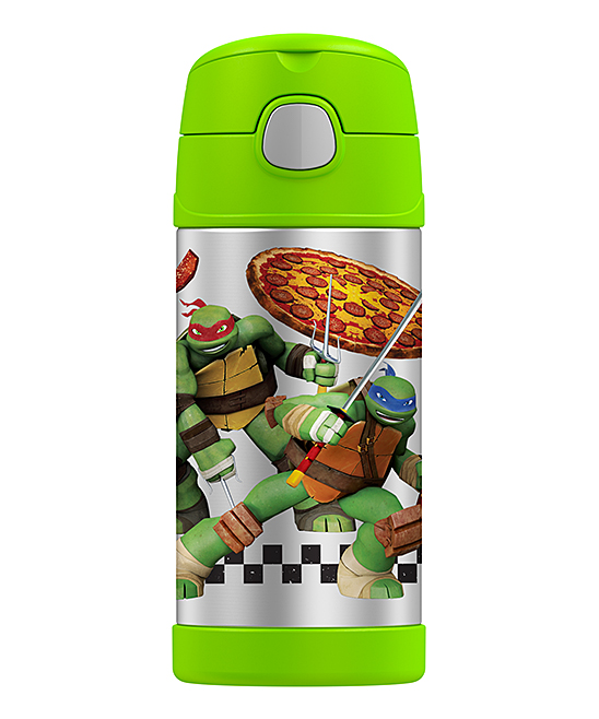 TMNT Bright Green Insulated Straw 12-Oz. Thermos TMNT Bright Green Insulated Straw 12-Oz. Thermos. This travel-ready thermos features a built-in carry handle and insulation to keep your drinks steamy-hot. A spirited graphic from an adventure-loving pop culture mainstay and flip-into-the lid straw combine personality and convenience. Includes thermos, lid and strawHolds 12 oz.Stainless steel / plasticInsulatedBPA-freeHand washImported