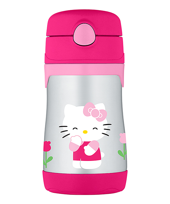 Hello Kitty Insulated Straw 10-Oz. Thermos Hello Kitty Insulated Straw 10-Oz. Thermos. This handy thermos combines entertainment-loving panache with travel-ready convenience thanks to heat-trapping stainless steel, a pop-out attached straw in the lid and an adventurous graphic. Includes thermos, lid and attached strawHolds 10 oz.Stainless steel / plasticDishwasher-safeImported