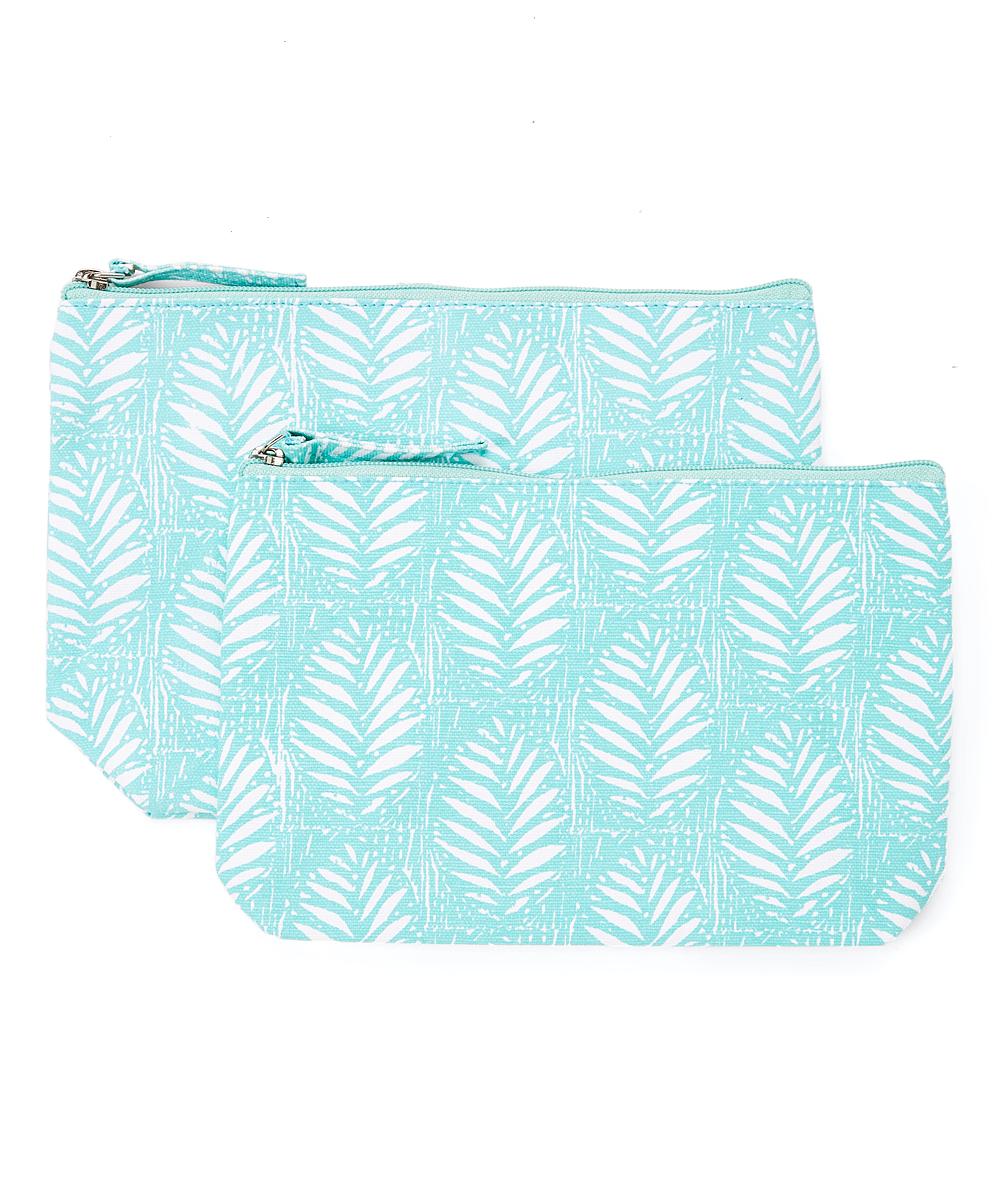 rockflowerpaper Women's Makeup Bags  - Palm Ocean Two-Piece Cosmetic Bag Set