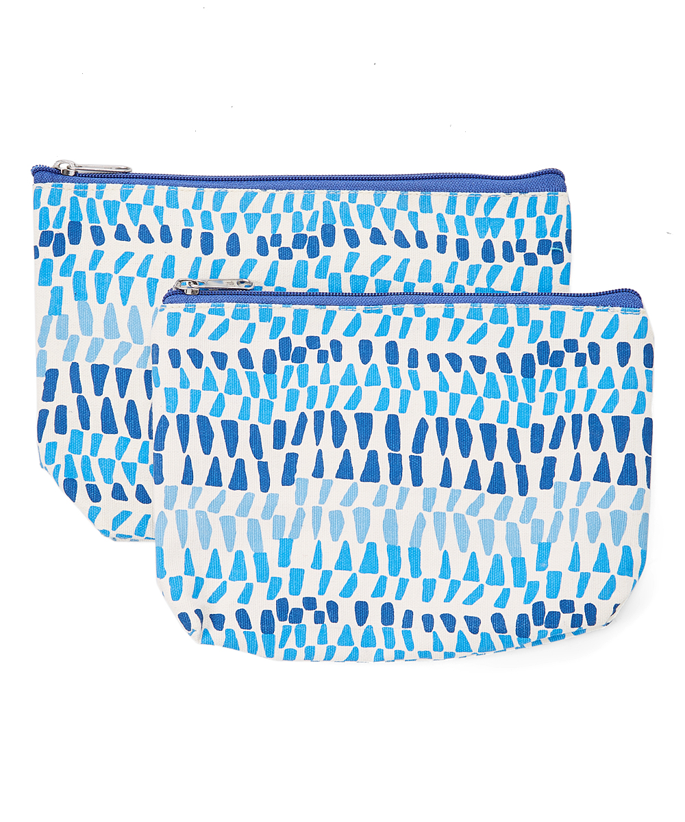 rockflowerpaper Women's Makeup Bags  - Blue Geometric Piper Two-Piece Cosmetic Bag Set