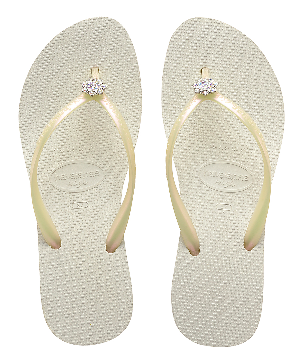 deab16fc43038 Havaianas White High Fashion Crystal Poem Flip-Flop - Women