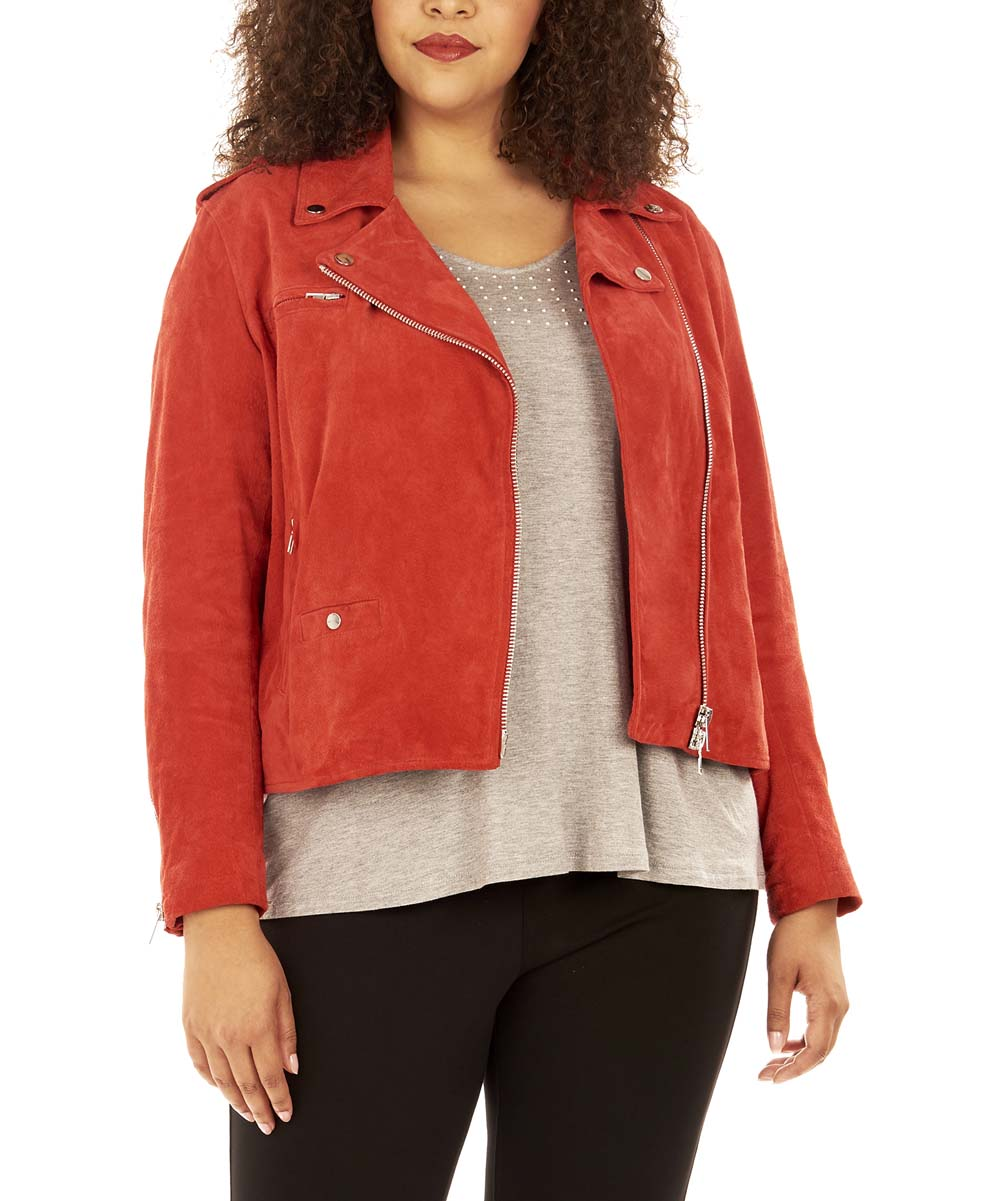f05ba1a2f23 ... Womens Haute Red Haute Red Suede Moto Jacket - Alternate Image 2 ...