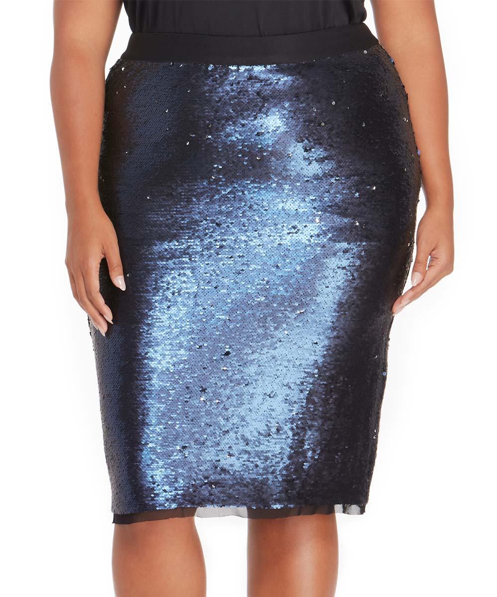20b9335d5de3 Rebel Wilson x Angels Blue & Silver Sequin Pencil Skirt | Zulily