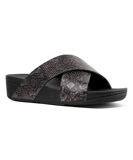 fdaeb1c2830c FitFlop Black Lulu Python Print Leather Sandal - Women