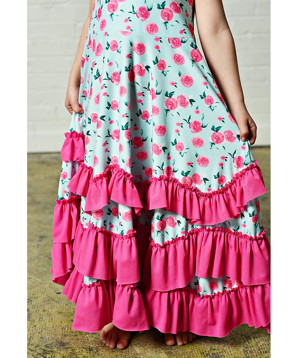 01a75a576c4 Oopsie Daisy Aqua & Hot Pink Floral Ruffle Maxi Dress - Girls | Zulily