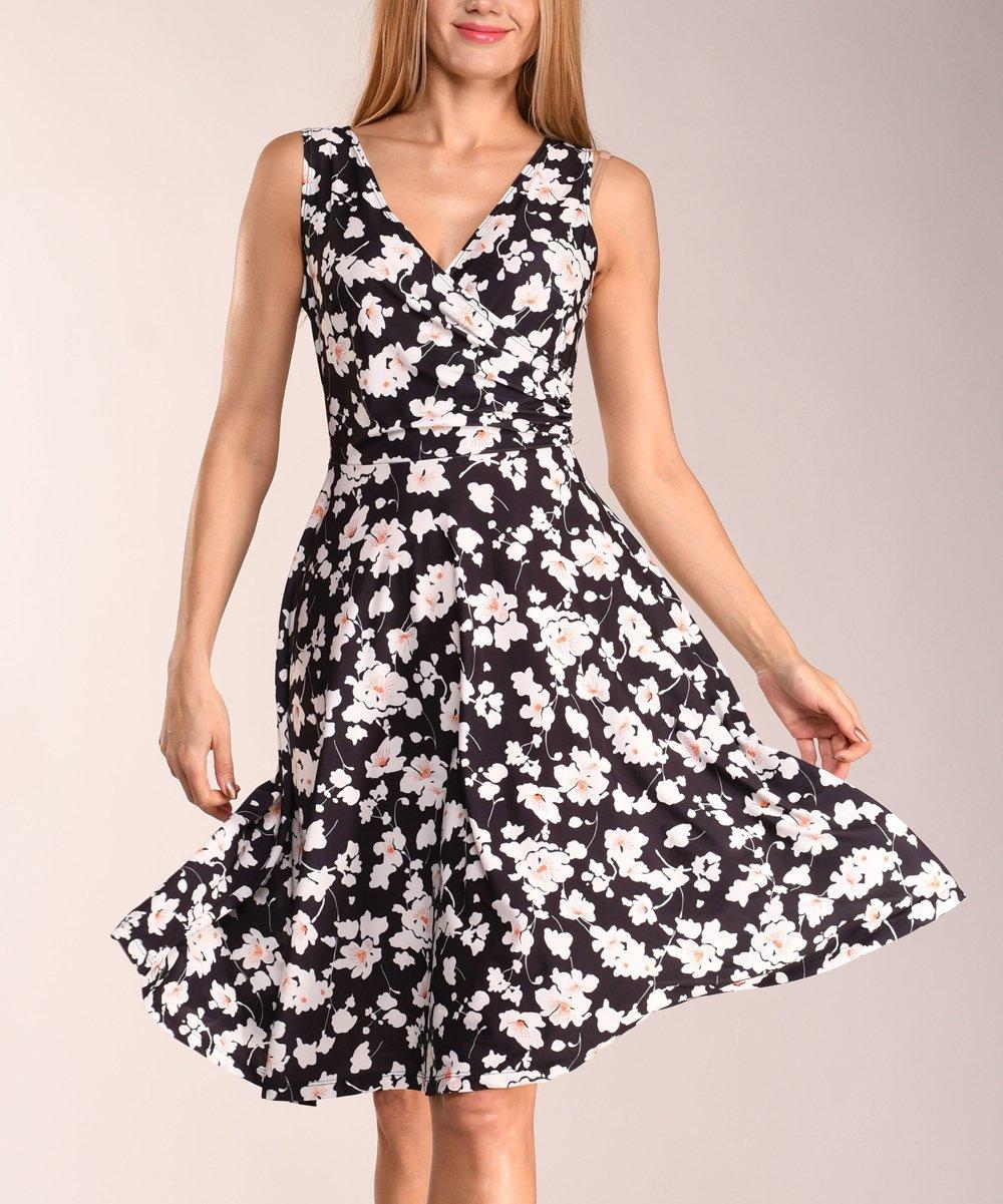 11d3f83a48486 ... Womens multi color Black   White Floral Sleeveless Dress - Alternate  Image 2