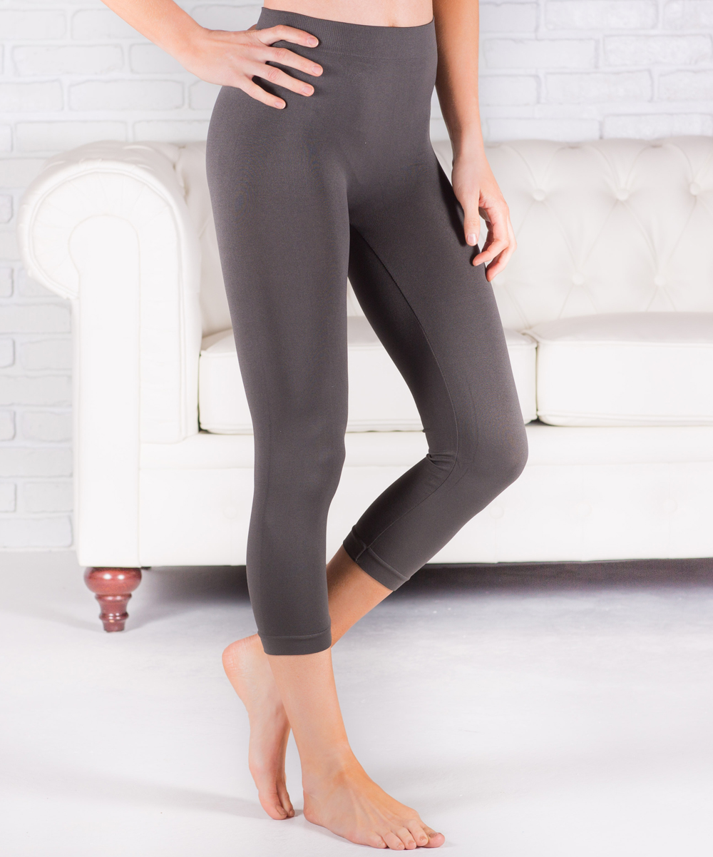 available special discount of really cheap Contagious Charcoal Gray Cropped Leggings - Women