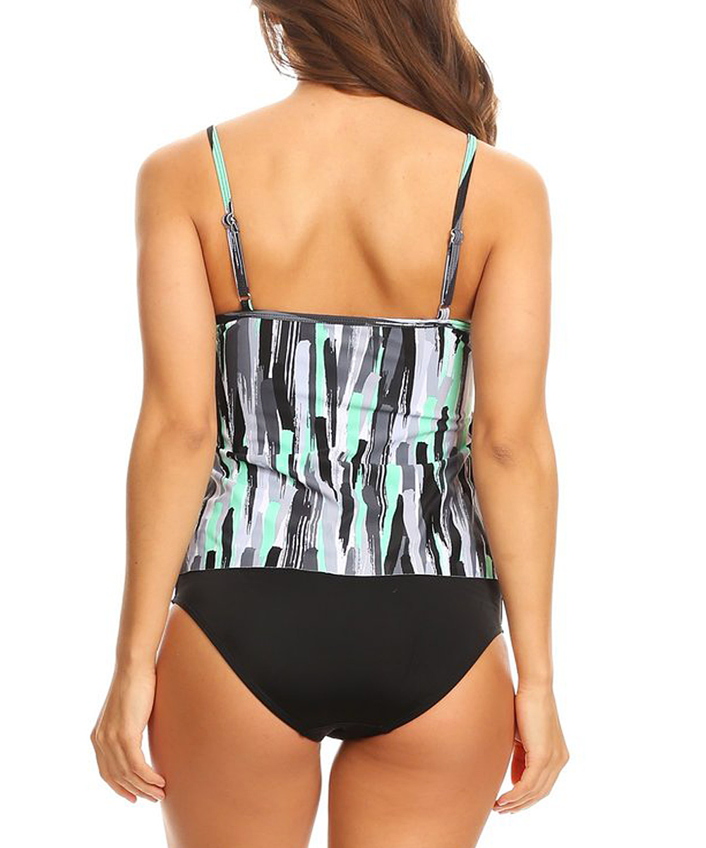 f870ea0766 ... Womens Mint Stripe Ruffle Tankini Top & Bottoms - Alternate Image 4