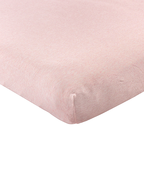 Hudson Baby Girls' Crib Sheets Heather - Heather Pink Cotton Fitted Crib Sheet