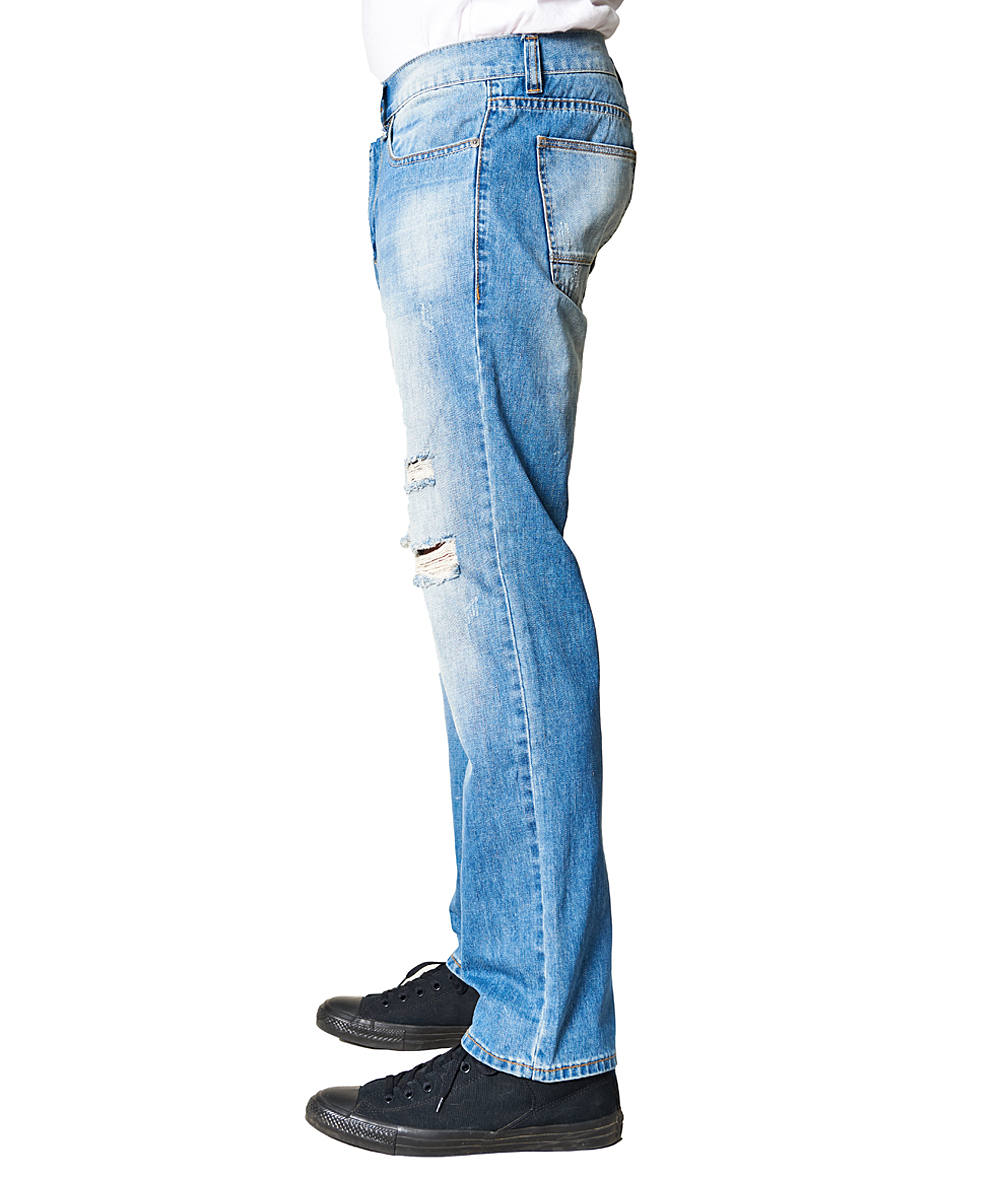 01a7703739d ... Mens LIGHT BLUE Light Wash Sandblasted Distressed Relaxed-Fit Jeans -  Alternate Image 2 ...
