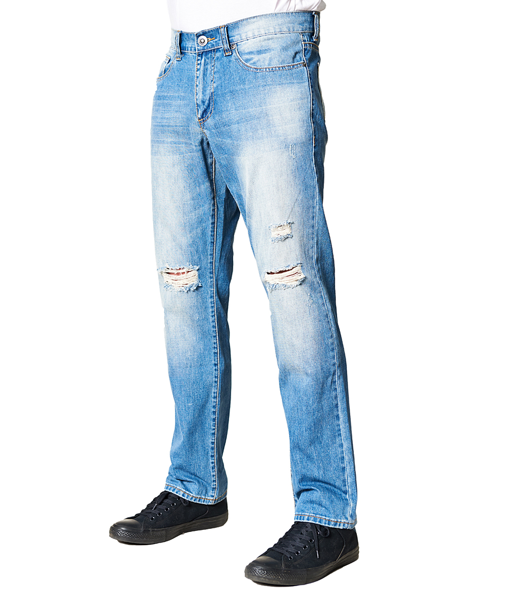 5ceae8f268a ... Mens LIGHT BLUE Light Wash Sandblasted Distressed Relaxed-Fit Jeans -  Alternate Image 3 ...