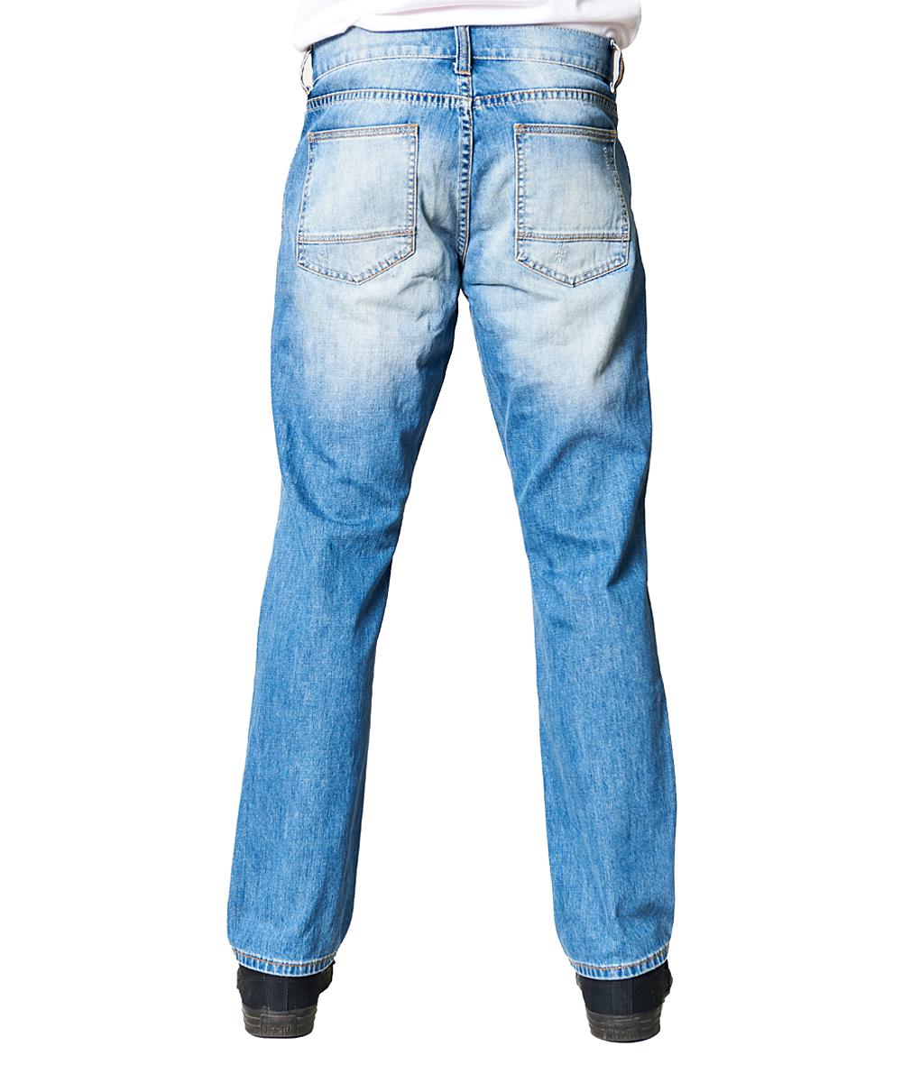 cdb3f655ada ... Mens LIGHT BLUE Light Wash Sandblasted Distressed Relaxed-Fit Jeans -  Alternate Image 4