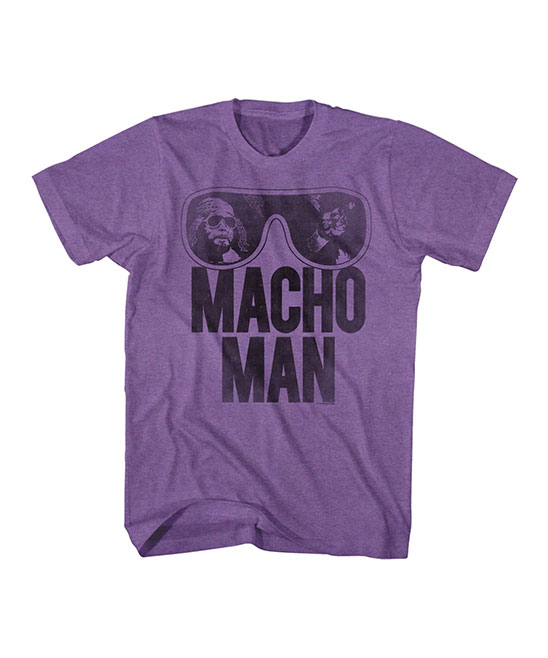 Purple Heather 'Macho Man' Sunglasses Tee - Men Purple Heather 'Macho Man' Sunglasses Tee - Men. This ultrasoft cotton-blend tee keeps him comfy while infusing his ensemble with retro appeal. Full graphic text: Macho Man60% polyester / 40% cottonMachine wash; tumble dryImported, screen printed in the USA Shipping note: This item is made to order. Allow extra time for your special find to ship.