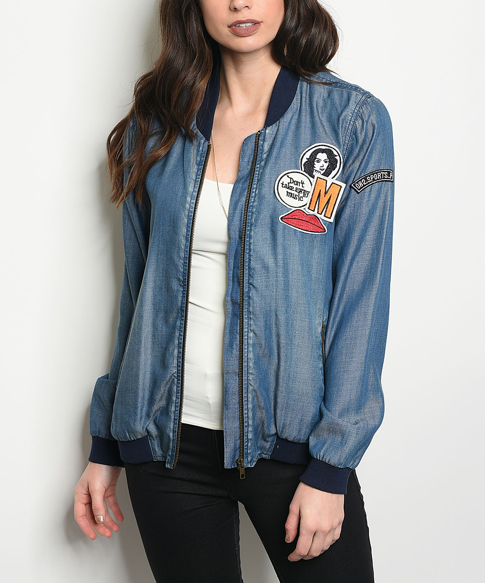 7d8035b22 Forever Lily Dark Blue Patch-Accent Denim Bomber Jacket - Women