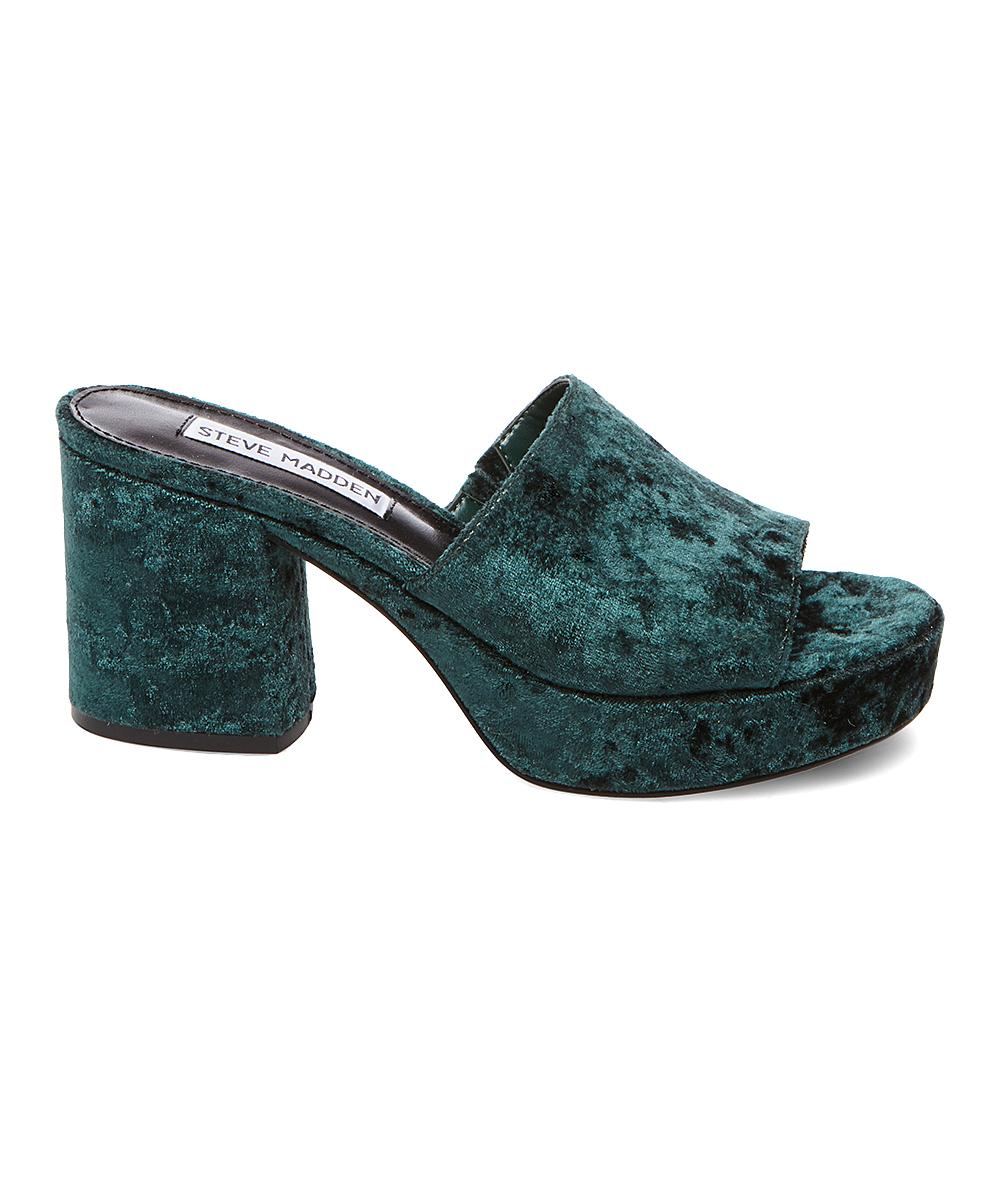 4ee9eb145898 ... Womens GREEN-078 Green Relax Velvet Platform Sandal - Alternate Image 2  ...