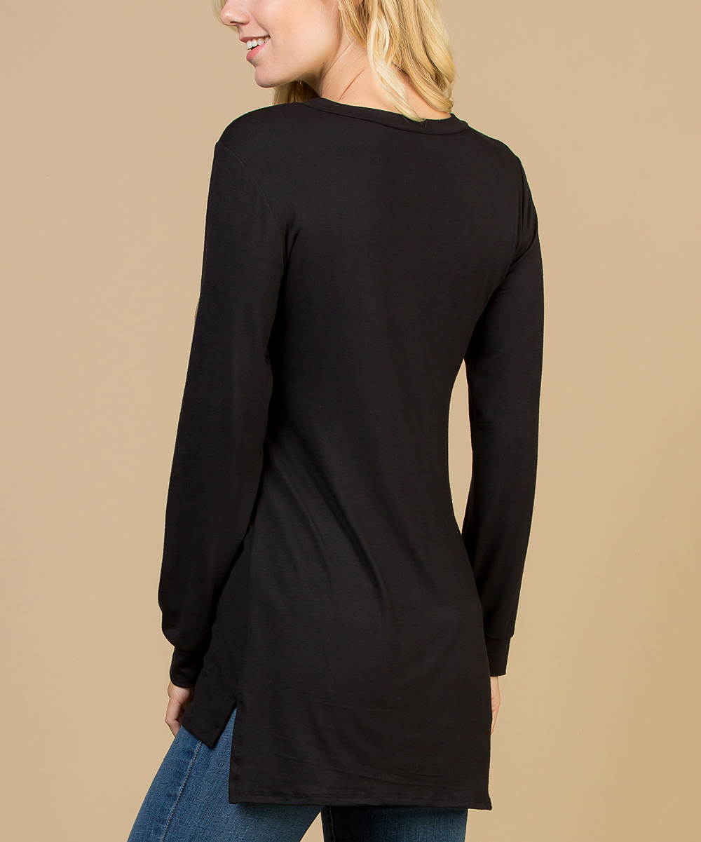 40a96e7acf86 Acting Pro Black Glitter-Pocket Long-Sleeve Top - Plus | Zulily