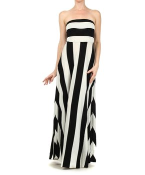 d35dc19ee996 all gone. J-Mode USA Los Angeles | Black & Ivory Stripe Strapless Maxi Dress  ...