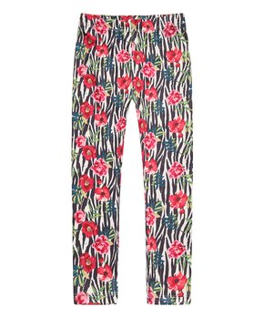 3ad28e31944c6 Richie House | Red Floral Zebra Leggings - Toddler