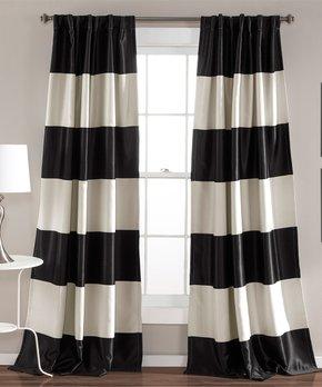 Lush Décor | Black Montego Stripe Room-Darkening Curtain Panel - Set of Two