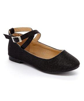 Adorababy | Black Sparkle Ankle-Strap Flat - Girls