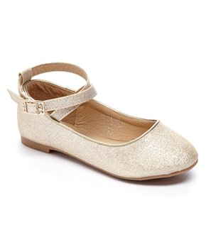 Adorababy | Champagne Sparkle Ankle-Strap Flat - Girls