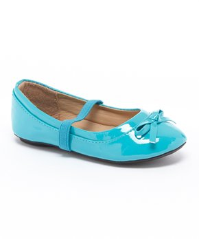 Ositos Shoes | Teal Patent Bow Strap Flat - Girls