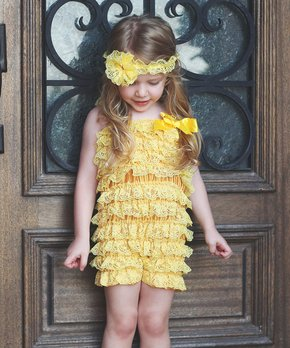 45d2d1ced0e1 all gone. Yellow Lace Ruffle Romper   Flower Headband ...
