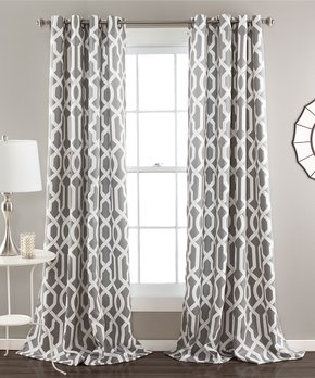 Lush Décor | Gray Bret Curtain Panel - Set of Two