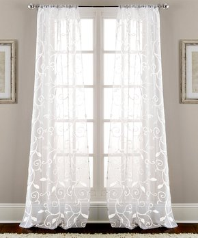 Amrapur Overseas | White Leaf Swirl Sheer Curtain Panel - Set of Two