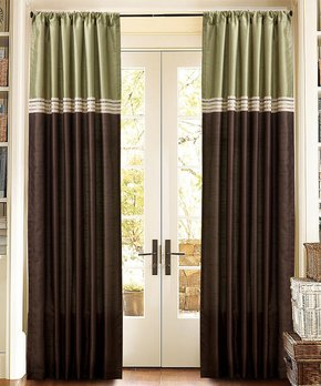 Lush Décor | Green & Chocolate Marissa Curtain Panel - Set of Two