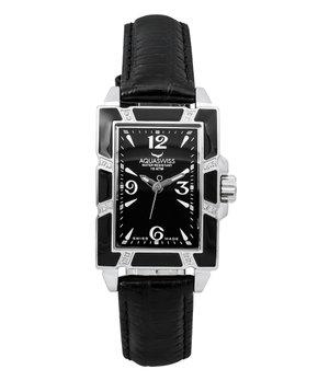 AquaSwiss   Diamond & Black AVL Leather-Strap Watc...