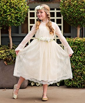 92c4f57d95e3 Just Couture | Ivory Lace Bell-Sleeve Carmella Dress & Sash - Toddler…