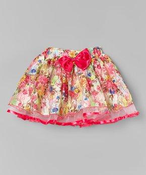 wenchoice Girls Hot Pink Embroidery Flower White Tutu Skirt/�