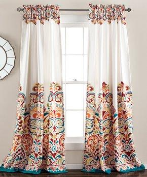 Lush Décor | Tangerine Clara Room-Darkening Curtain Panel - Set of Two