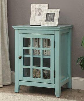 Linon Home   Turquoise Largo Antique Single-Door Cabinet