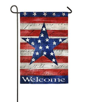 Evergreen | 'Welcome' Patriotic Barn Star Faux Suede Outdoor Flag