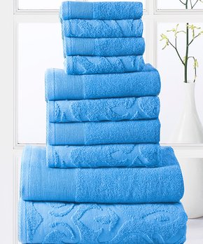 Amrapur Overseas | Denim & Ivory Fleur Swirl-Embroidery Six-Piece Towel Set