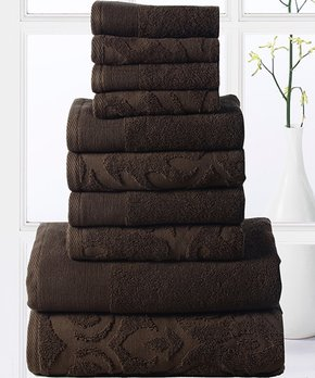 Affinity Linens | Chocolate Brocade 10-Piece Cotton Towel Set