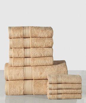 Affinity Home | Beige Casa Platino 10-Piece Cotton Towel Set
