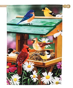Evergreen | 'Welcome' Hummingbird & Hollyhock Outdoor Flag