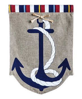 Evergreen | Large Anchor Burlap Outdoor Flag