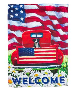 Evergreen | Patriotic Pup Truck Outdoor Flag