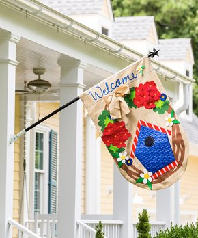 Evergreen | Large Birdhouse & Flowers Outdoor Flag