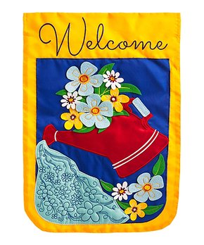 Evergreen | Waterlilies & Dragonflies 'Welcome' Outdoor Flag