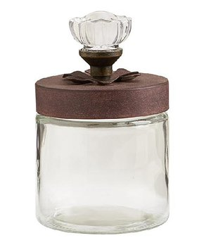 K&K Interiors | 7'' Rose Top Glass Jar