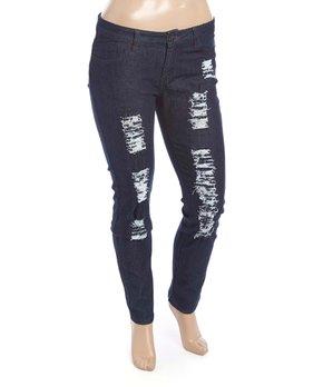 Be Girl Clothing | Dark Indigo Ripped Skinny Jeans - Women & Plus