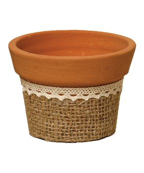 ZiaBella | Small Burlap & Lace Pot