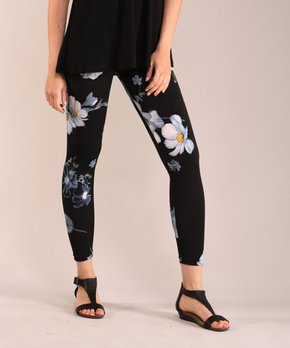 824fb0451f8a64 Lbisse | Black Floral Leggings - Women & Plus